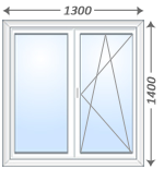 Двустворчатое окно Veka WHS-60